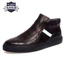 autumn winter high-top mens casual shoes Genuine Leather all-match cowhide cashmere cowboy boots mens chelsea boots steel toe цена