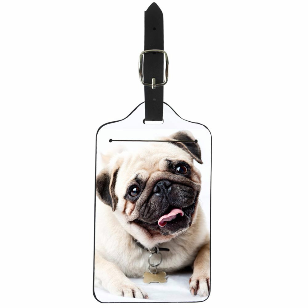 THIKIN Pug Dog Travel Luggage Label Straps Suitcase Luggage Tags Cute PU Leather Classic 3D Animal Luggage Bags Accessories