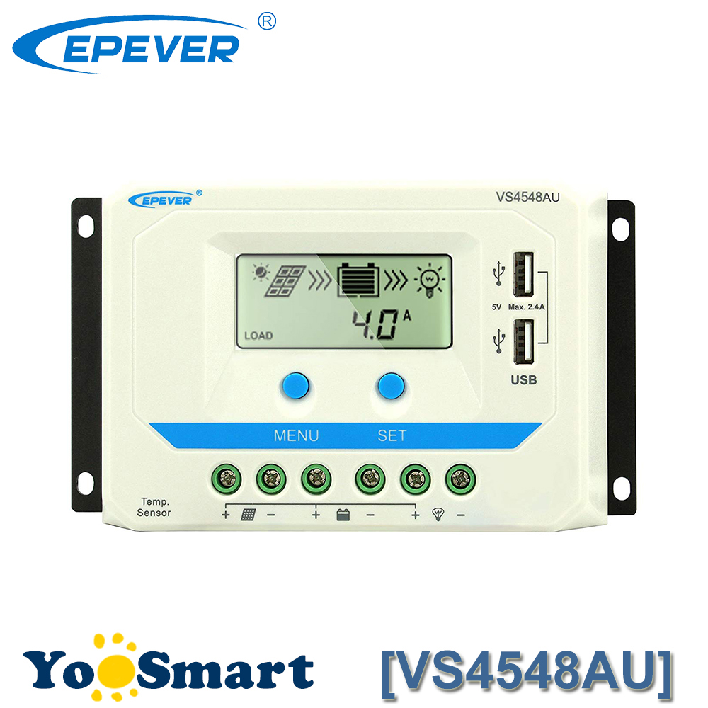 EPever VS4548AU 45A Solar Charge Controller 12V 24V 36V 48V DC Auto PWM with Informative Black Light LCD display Double 5V USB epever vs6024au 60a pwm solar charge controller 12v 24v dc auto with informative black light lcd display double 5v usb epsolar