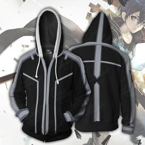 Anime SAO Sword Art Online Kirito Kirigaya Kazuto Yuuki Asuna Jacket Cosplay Costume Zipper Coat 3D Hoodie Sweatshirt Outfit New
