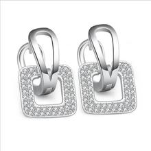 Everoyal Women New Fashion Lady Silver 925 Earrings Jewelry Female Rose Gold Square Hoop For Girls Accessories
