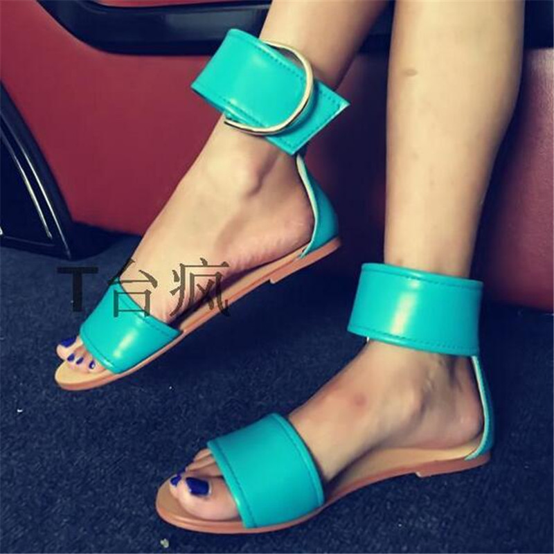 d90b4f0bbbe7 Fashion Red Light Blue Leather Flat Sandals Women Shoes Woman Big Buckle  Casual Shoes Gladiator Sandals Women Sandalias Mujer-in Low Heels from Shoes  on ...