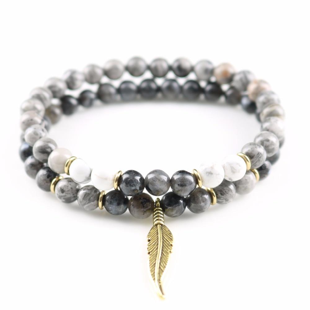 2 pcs/lot Labradorite Moonstone Map Natural Grey Stone Golden Leaf Charm Bracelets Men Jewelry Gift
