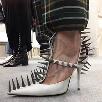 Women Punk Rivet Studs T strap Buckle Stilettos High Heel Sexy Casual Shoes Sandals Pointed Toe Genuine Leather Pumps