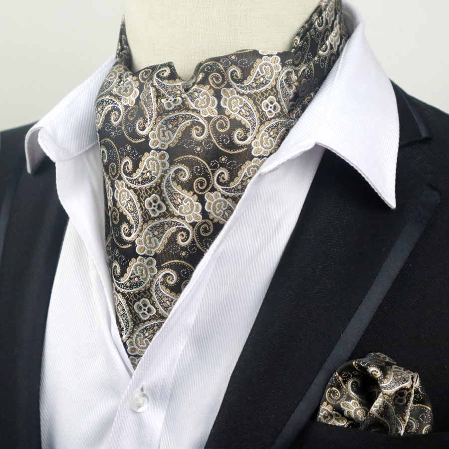 89b46689b491 ... 67 Color Men Luxury Silk Ascot Tie set Man Cravat Ties Handkerchief Set  Floral Paisley Dots