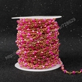 5Meter/lot DIY 4mm Wire Wrapped Beaded Rosary Chain Faceted Hot Pink Jade Quartz Beads for Necklace Bracelet JT036
