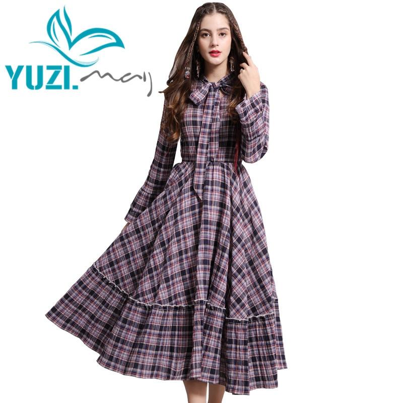 Dress Female 2019 Yuzi may Boho New Cotton Women Dresses Long Flare Sleeve A Line Swing
