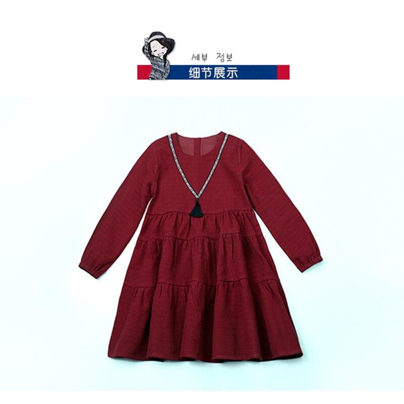 Autumn Children Girls Dress Tassels Floral Printed 100% Cotton Kids Girl Clothing Puff Sleeve Princess Dress Kids Clothes 2016 girl autumn dress 100