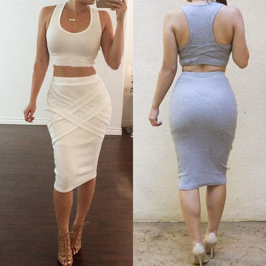 2017 Women Two Piece Outfits Summer Sexy Club Bodycon Party Dress Sleeveless Casual Midi Bandage ...