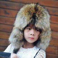 Rússia Crianças Zorro Chapéu Crianças Meninas Quentes do Inverno da Pele Pele Real Chapéu do bebê Tampas Crianças Orelhas Quentes Dos Miúdos Das Crianças Chapéu Cor Sólida