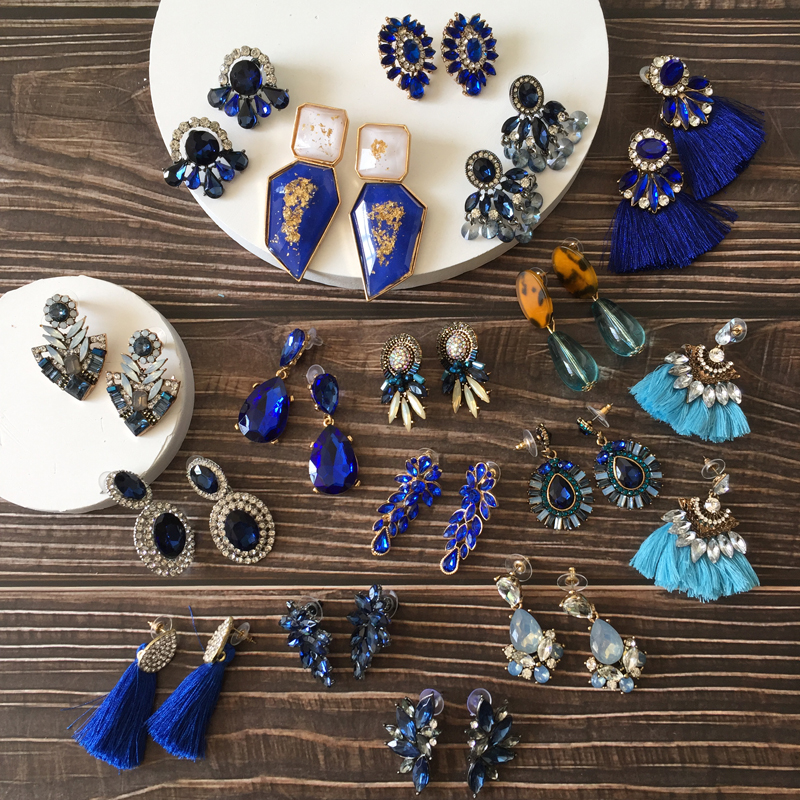 Ztech Big-Statement Ear-Accessories Eearrings Blue 32-Design Tassel/resins Wholesale