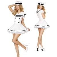 Purity Sailor Uniform For Woman White Disguised Sexy Stewardess Uniform Halloween Masque Lace Hat Dress Two Piece V Neck T1097