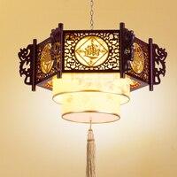 Chinês luz pingente De Madeira lâmpada de Pele De Carneiro Restaurante Do Clube de Iluminação da Sala de estar Do Hotel Antigo pingente Sorte Fortuna wl5021150 Luzes de pendentes     -