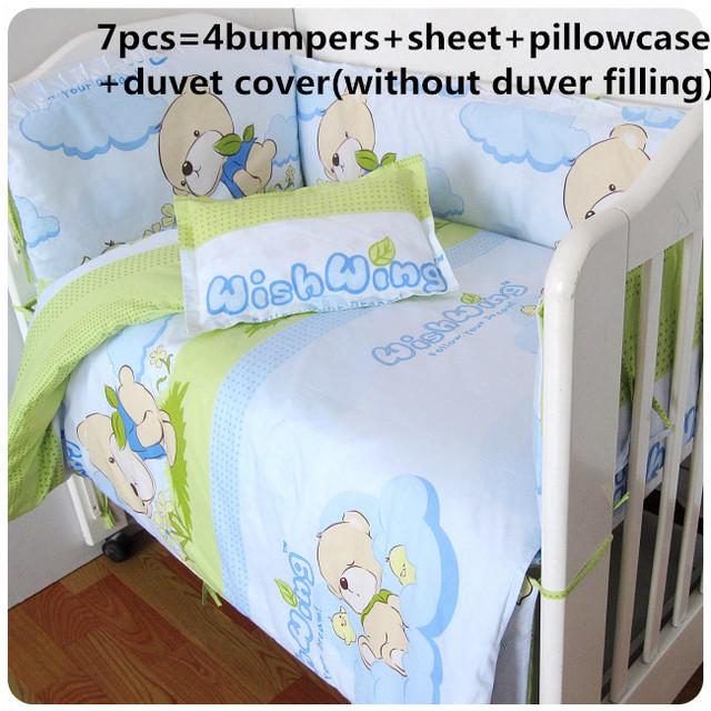 2016! 6 / 7 PCS conjunto fundamento do bebê 100% algodão berço conjunto de cama para recém-nascido capa de edredão, 120 * 60 / 120 * 70 cm