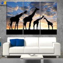 3pcs /set Abstract African Landscape Animal Giraffe Wall Art Painting On Canvas silhouette Picture Modern Home Decor Set(China)