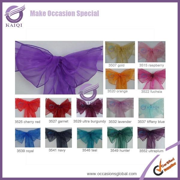 #3534 ultra purple  50pcs wholesale new  cheap sparkle organza wedding chair sash for party banquet decoration event decoration