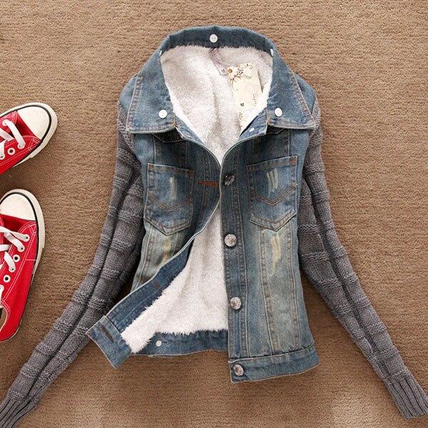 2018 Fashion Good Quality Winter Women Jeans Coat Fleece Short Denim Jacket Slim Fur Collar Outerwear Tops 3