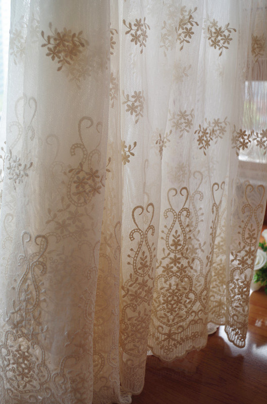 Ivory Cream Lace Fabric Embroidered Tulle Mesh Curtain