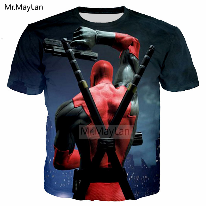 Funny Design Movie Deadpool 3D Print Tshirt Men Women Hiphop Streetwear Tee T shirt Boys Cool Tops Red Clothes Drop shipping 6XL in T Shirts from Men 39 s Clothing