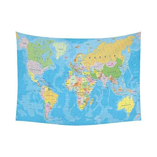 US $16.03 41% OFF|Educational Wall Art Home Decor, Colored World Map with  Countries and Cities Name Tapestry Wall Hanging Art-in Tapestry from Home &  ...