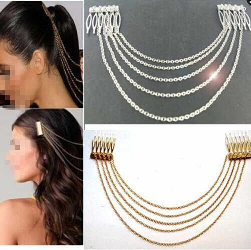 Fashion Punk Hair Cuff Pin Clip 2 Combs Tassels Chains Headband Silver/Gold Wedding Accessories Hair Jewelry JWD131
