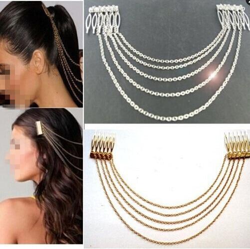Fashion Punk Hair Cuff Pin Clip 2 Combs Tassels Chains Headband Silver/Gold Wedd