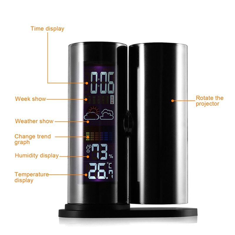 New LCD Projection Digital Thermometer Hygrometer 360 Degree Rotating Clock Bedside NE
