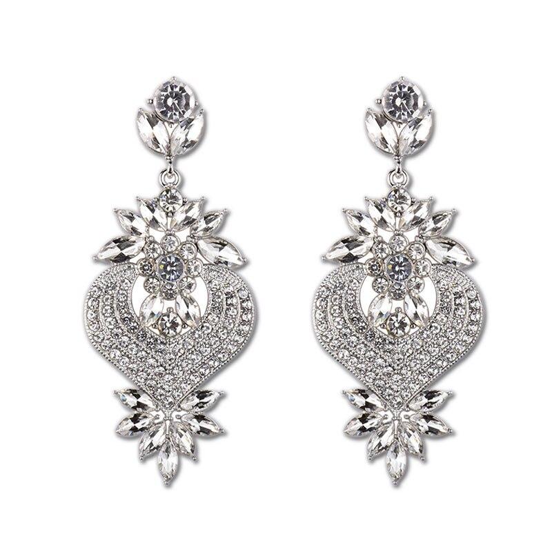 L H Vintage Gold Color Statement Earrings Heart With Flower Crystal Drop Earring For Women 2018 Fashion Female Earrings Jewelry in Drop Earrings from Jewelry Accessories
