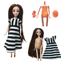 Ternos boneca 3D olhos cabeça Educacional Real grávida mãe boneca tem um bebê na barriga dela para barbie