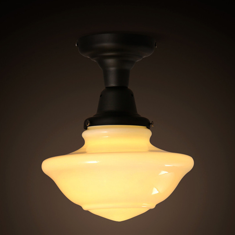H28cm Modern Simple Painted Iron And Glass Led Ceiling Light For Porch With 1pc LED Bulb simple cm 379