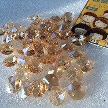 100 шт./лот 14 мм AAA Стеклянные хрустальные Восьмиугольные бусины с двумя отверстиями хрустальная люстра украшение бисером+ Бесплатные Кольца