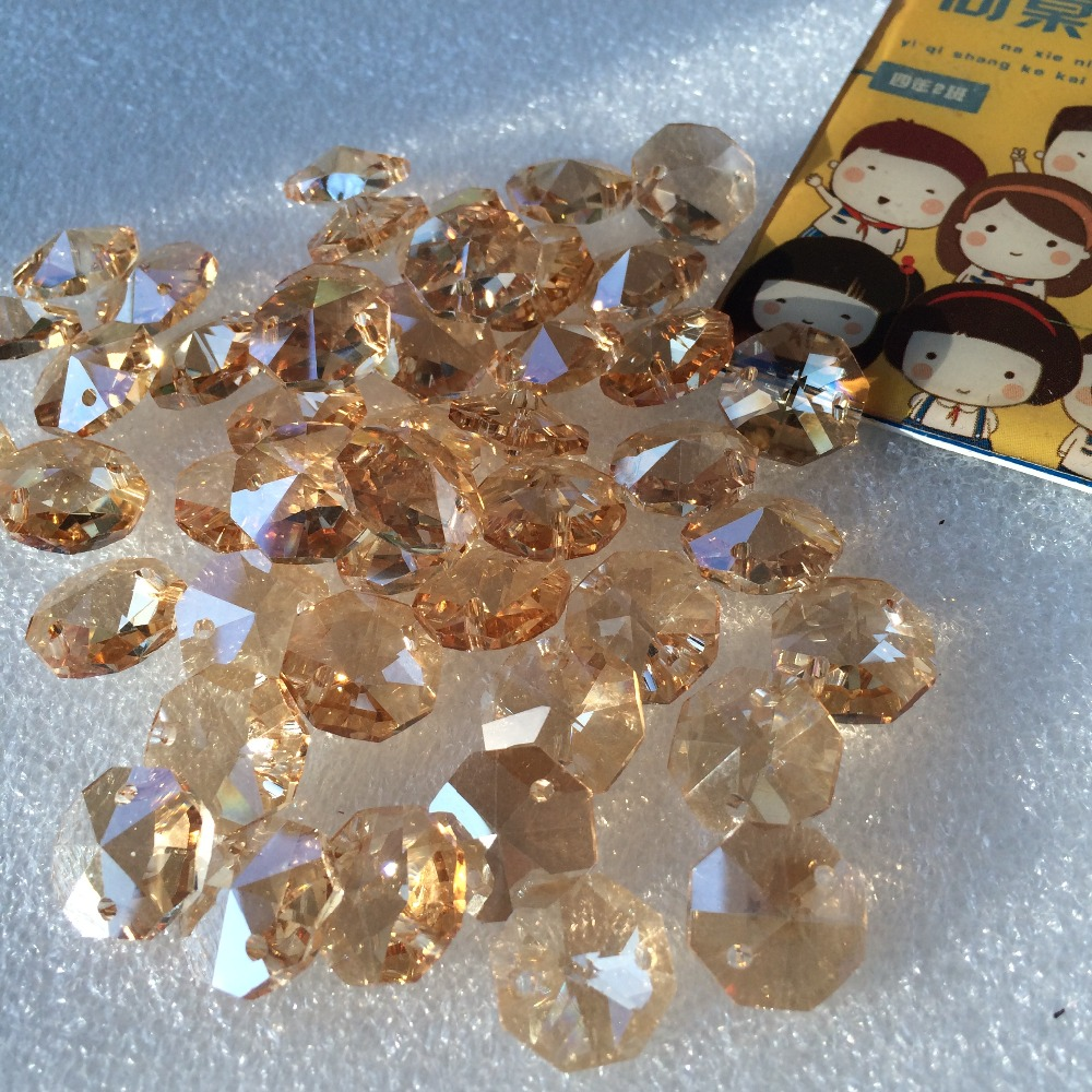 Top Quality 100pcs Champagne 14mm AAA K9 Crystal Octagon Beads With Two Holes Crystal Chandelier Beadsts Decoration+Free Rings