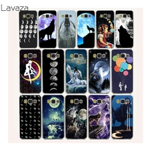 Wolf & Moon Pattern Hard Transparent Case Cover for Galaxy A3 A5 7 8 J5 7 & Note 5 4 3 2 & Grand 2 & Prime