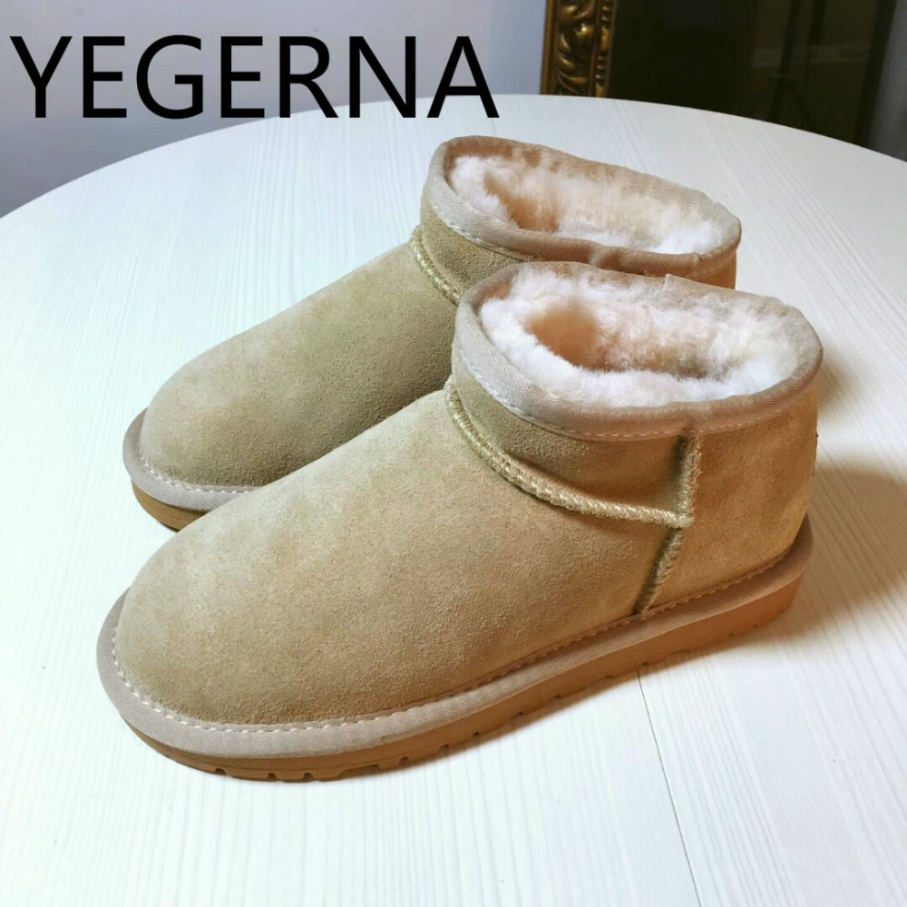 YEGERNA Genuine Cowhide Leather Snow Boots Top Quality New  Natural Fur  Winter Real Wool Fashion Ankle Shoes For Women top quality fashion women ankle snow boots genuine sheepskin leather boots 100% natural fur wool warm winter boots women s boots