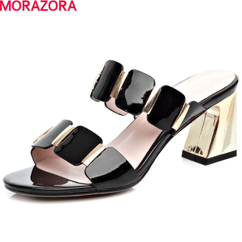 MORAZORA New arrive summer party shoes woman sexy lady square heels shoes solid genuine leather women sandals size 34-39 feng menglong 喻世明言