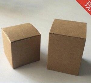 Image 1 - 100PCS/LOT  60X60X60MM  Square Kraft Paper Boxes Candy Packing Box