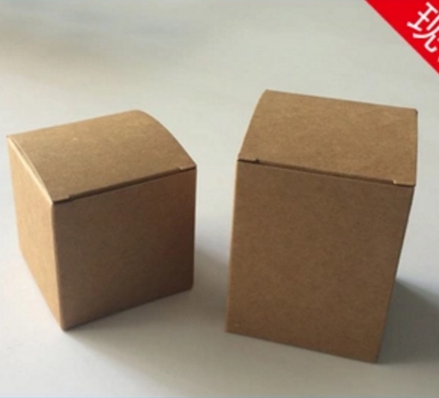 100PCS/LOT  60X60X60MM  Square Kraft Paper Boxes Candy Packing Box