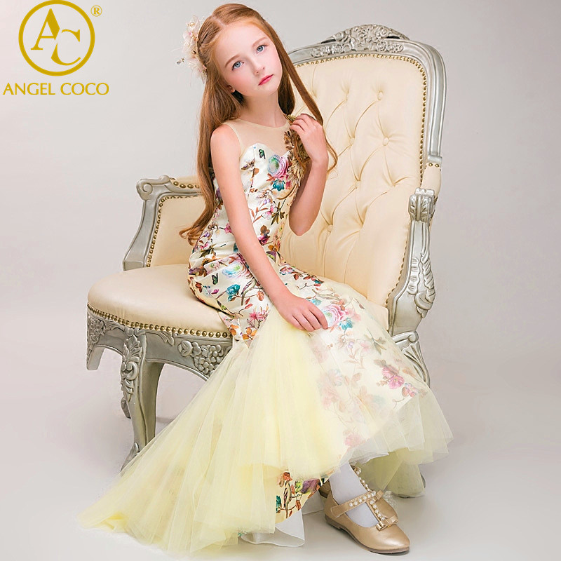 Luxury Champagne Carnaval Flower Girl Dress For Weddings Mermaid Sleeveless Pageant Dress Sequins Appliques Prom Gowns Vestido