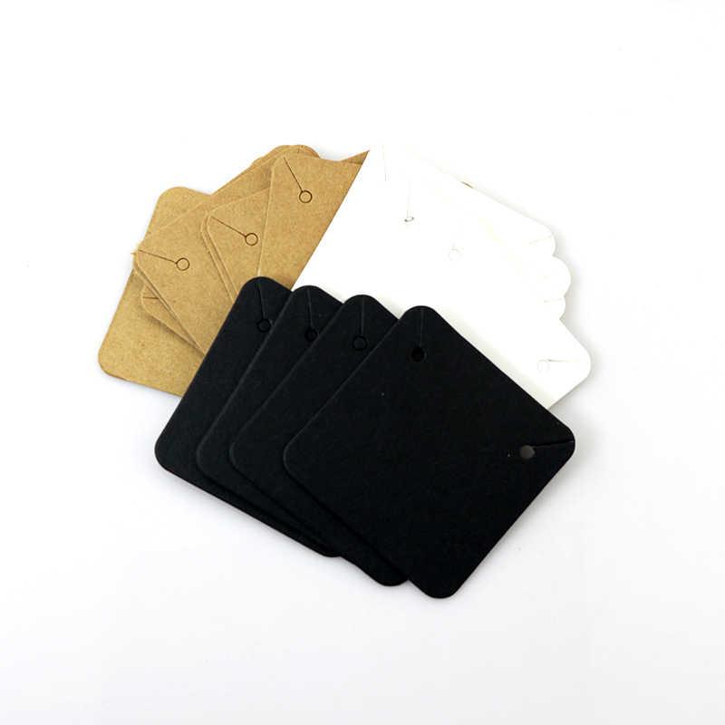 50PCS 5x5cm ריק קראפט נייר תכשיטי תצוגת שרשרת כרטיסי לתלות לטובת תווית תג עבור תכשיטי ביצוע אביזרי Diy סיטונאי