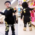 Retail Black Skull Baby Boy Autumn Winter Sets Hooded Jacket Pants Suits 2016 Infant Clothes Toddler Clothing Children Outerwear