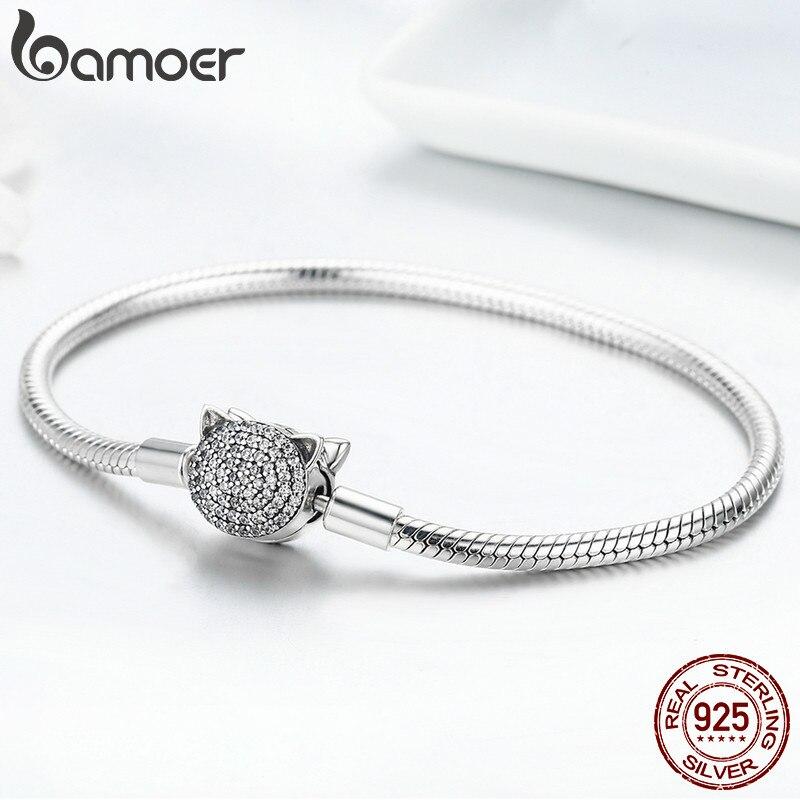 Image 3 - BAMOER 100% 925 Sterling Silver Cute Cat Glittering CZ Snake  Strand Chain Bracelets for Women Sterling Silver Jewelry SCB053Charm  Bracelets