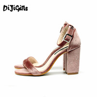High Quality Women Velvet Shoes Sandals Ankle Strap Buckle Block Chunky High Heel Pumps Wedding Dress