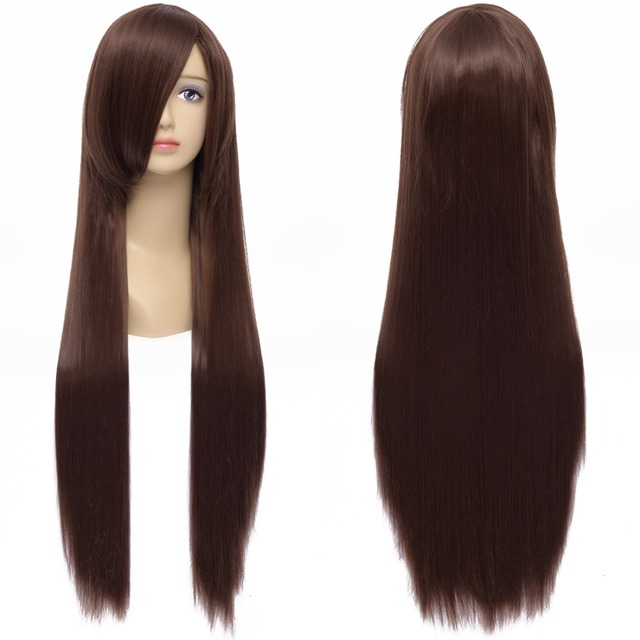 "32"" 80cm Long Straight Synthetic Hair Dark Brown Cosplay Wig Heat Resistant Costume party Wigs Cheap Anime Wigs Free shipping"
