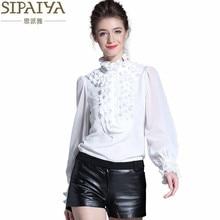 SIPAIYA Brand New Designer Women Silk Blouse Shirt High Quality 2017 Spring Long Sleeve Ruffled Formal Blouse Office Work Tops