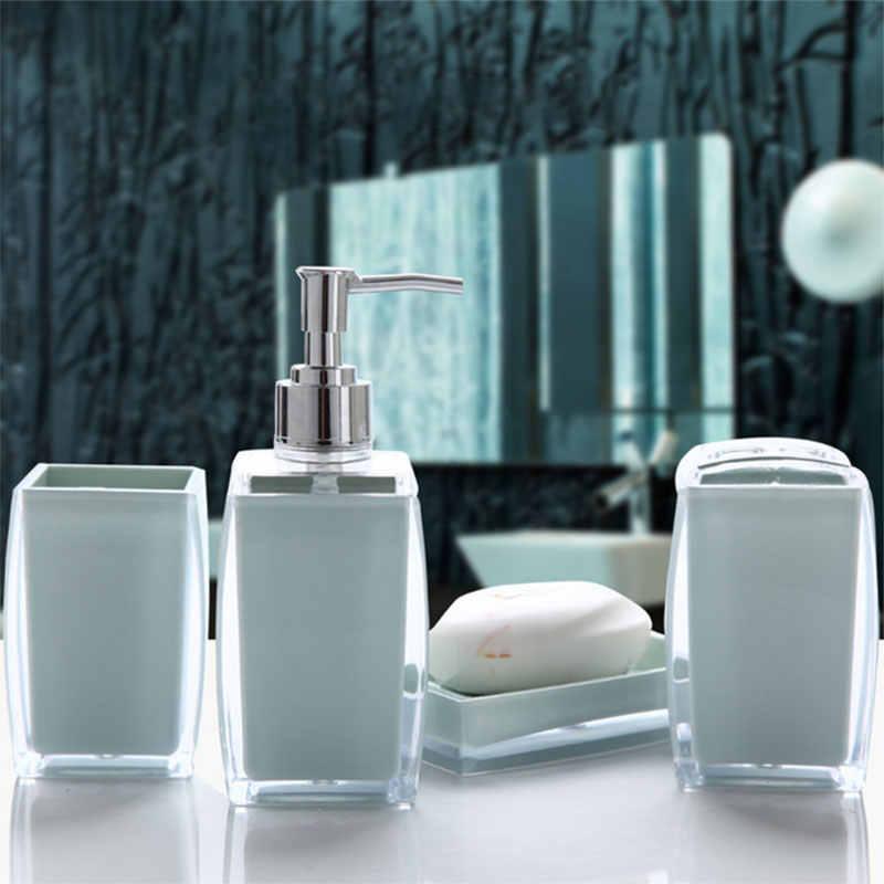 Akrylowe 4 sztuka zestaw akcesoriów łazienkowych mydło w płynie dozownik butelka mydelniczka uchwyt na szczoteczkę do zębów Case Caddy chłopak-sprzedaż