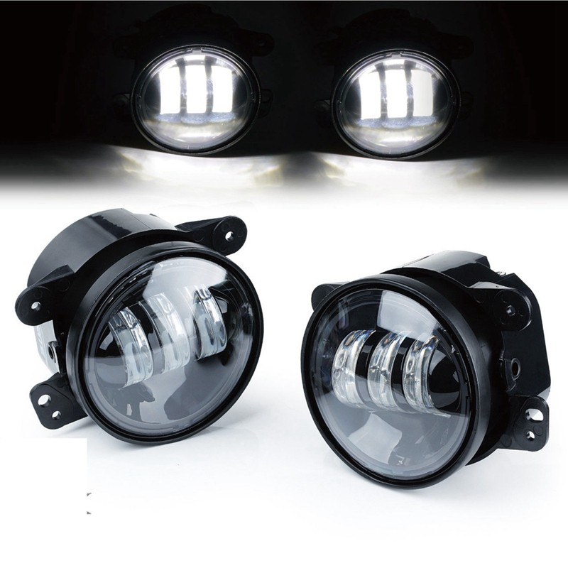 1 Pair 4 Inch LED Passing Fog Lights 30W Driving Projector Fog Lamp Assembly 30W for Jeep Wrangler JK LJ TJ For Dodge Chrysler windshield pillar mount grab handles for jeep wrangler jk and jku unlimited solid mount grab textured steel bar front fits jeep