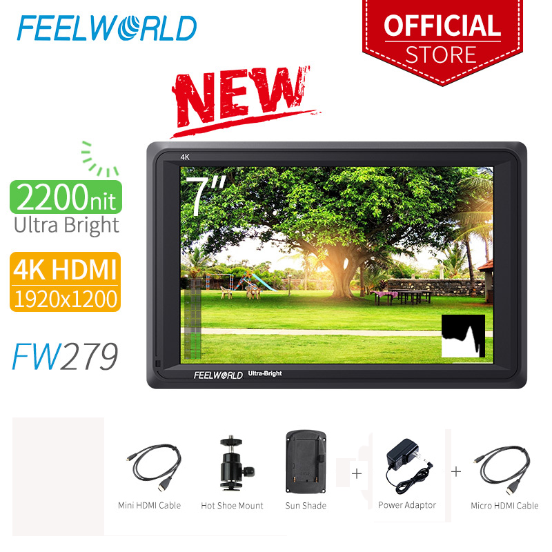 Feelworld FW279 7 Inch Camera Field Monitor DSLR Focus Assist FullHD 1920x1200 IPS with 4K HDMI Input Output 2200nit High BrightFeelworld FW279 7 Inch Camera Field Monitor DSLR Focus Assist FullHD 1920x1200 IPS with 4K HDMI Input Output 2200nit High Bright