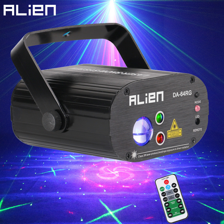 ALIEN 64 Patterns RG Remote Laser Stage Projector Lighting Effect DJ Disco Party Christmas Holiday With RGB LED Water Wave Light alien 64 patterns rg remote laser stage projector lighting effect dj disco party christmas holiday with rgb led water wave light
