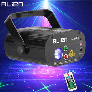 ALIEN 64 Patterns RG Remote Laser Stage Projector Lighting Effect DJ Disco Party Christmas Holiday With RGB LED Water Wave Light - DISCOUNT ITEM  30% OFF All Category