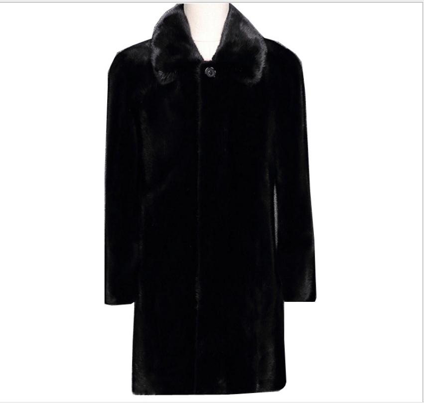 S/6Xl Male Imitation Man-Made Mink Fur Coats Plus Size Mens Winter Autumn Warm Black Fake Fur Overcoats Jaqueta Couro Cj103(China)